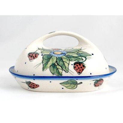 Berries & Cream Butter Dish w/ Handle