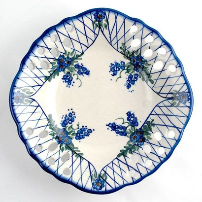 Lattice in Blue Fruit Dish