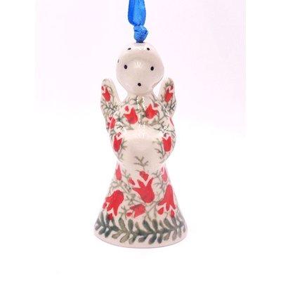 """CA Crimson Bells 3 1/2"""" Angel Ornament"""