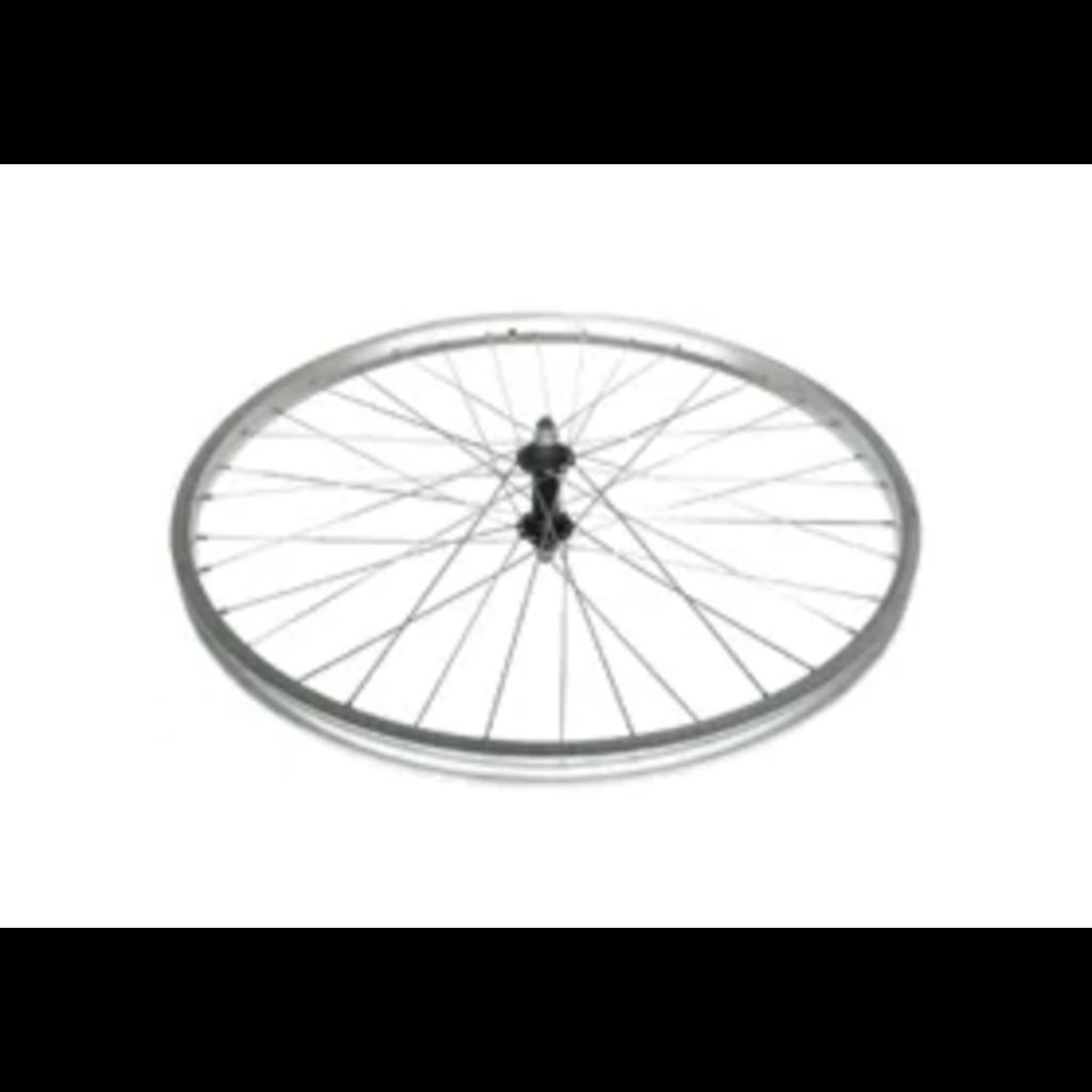 Wheel 26' Araya S/w Silver Alloy Rim , Black Steel Nutted Hub , Mach1 Galvanised Silver spokes , Front. (match 94240)