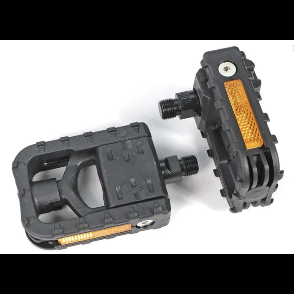 FOLDING PEDALS 9/16'' axle, BLACK fiberglass/nylon platform