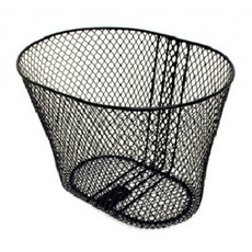 BASKET - Front, Mesh, Roundish, With Fittings Bracket & Stay, Black, 27cm x 36cm x 25cm