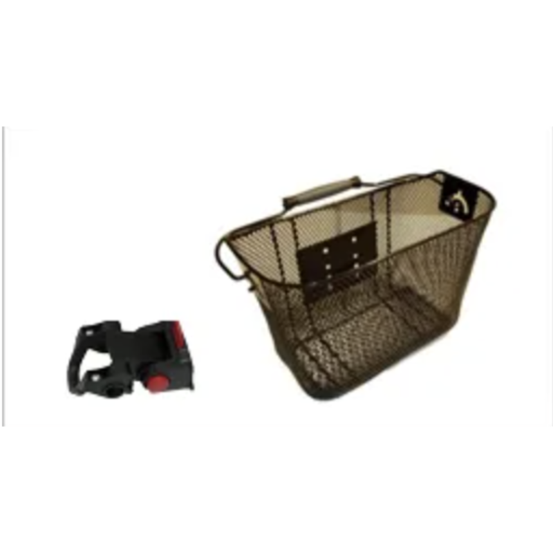 BASKET - Front, Mesh, With Angle Adjustable Q/R Bracket, For Light Weight Cargo, 16cm x 30cm x 21cm
