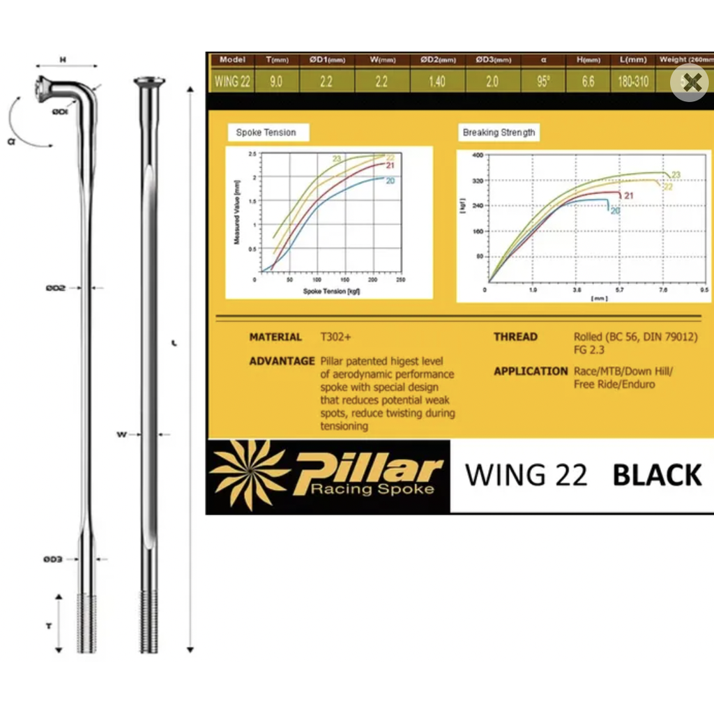 Pillar AERO Spoke PSR WING22 , J-Hook, 1.4mm thick x 2.2mm wide, stainless 14g x 269 black.