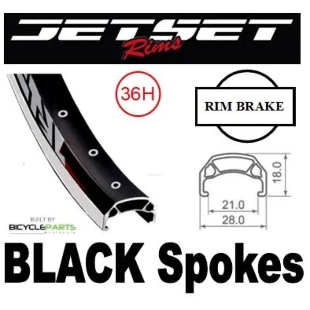 WHEEL - 700C Jetset CH-E213 36H P/j Black Rim, 8/10 SPEED Q/R (135mm OLD) Loose Ball KK Rival
