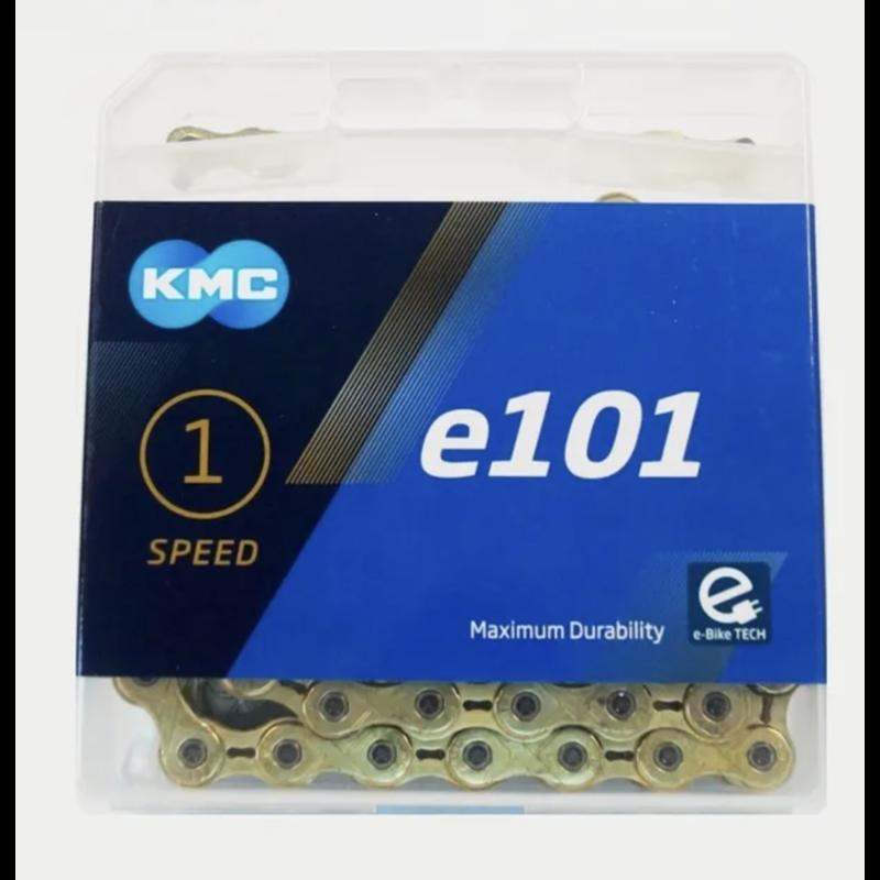 CHAIN, KMC, E101, 1/2 x 1/8'' x 112 links, Single Speed, Gold/Gold, lightweight