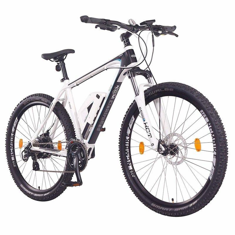 NCM Prague Electric Mountain Bike, E-Bike, E-MTB, 250W, 36V 13Ah 468Wh Battery [White 27.5]