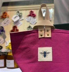 Blue Bee Studio Pink Bee Bin with Leather Handle