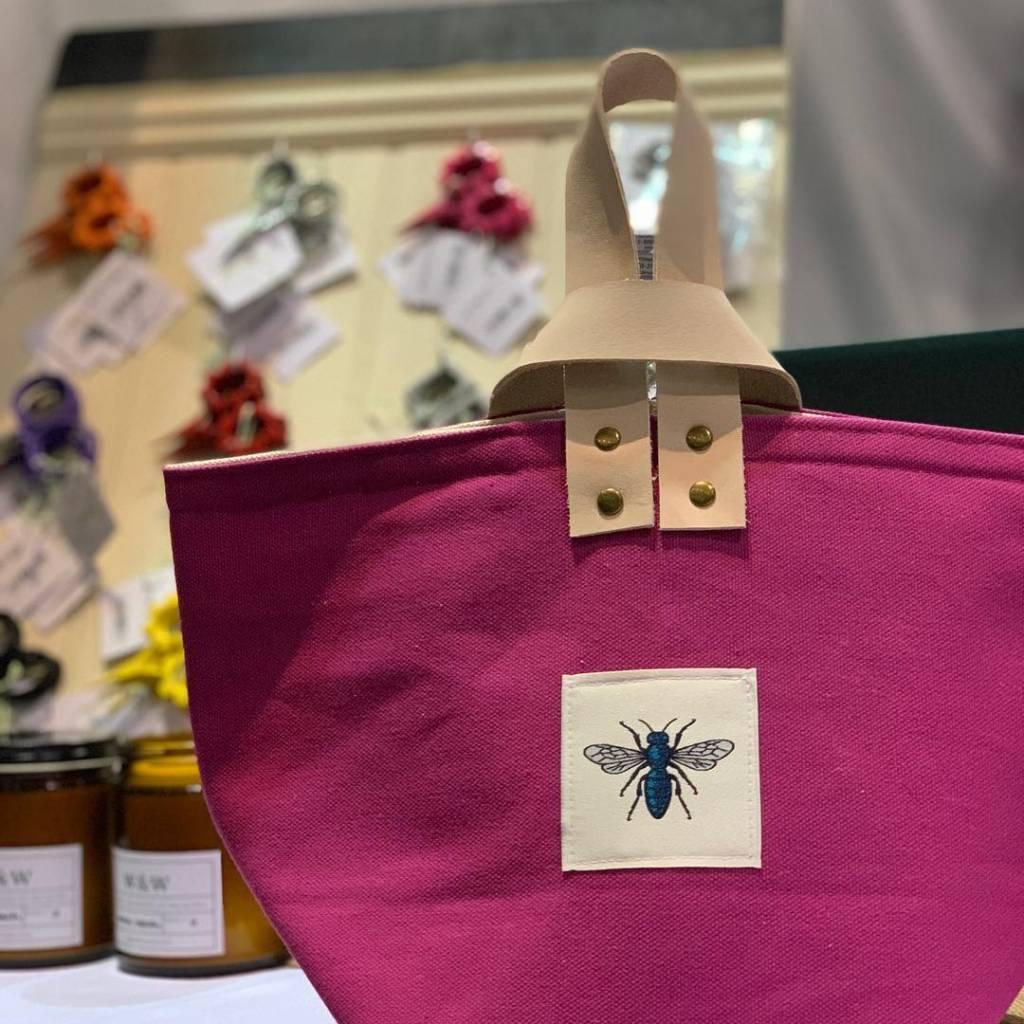 Blue Bee Studio Bee Bin Pink with Leather Handle
