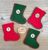 Katrinkles Advent Calendar Felt Stocking Kit - Red and Green