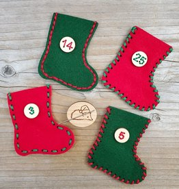 Katrinkles Advent Calendar Felt Stocking Kit - Red and Green