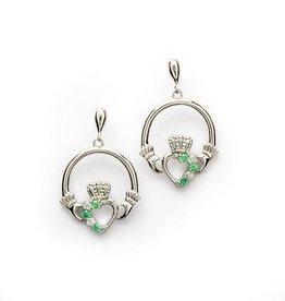 S/S Green CZ Claddagh Earrings
