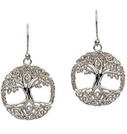 S/S CZ Tree of Life Earrings