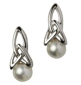 S/S Trinity Knot Pearl Earrings