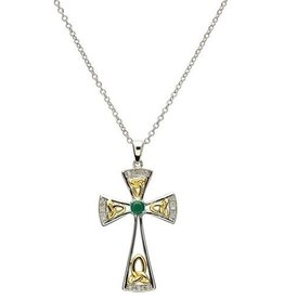 S/S Diamond Green CZ Celtic Trinity Knot Cross Necklace