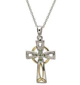 S/S Emerald/Diamond Celtic Cross