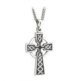 S/S Embossed Oxidised Cross on Steel Chain