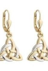 S/S GP Two Tone Trinity Knot Circle Drop Earrings