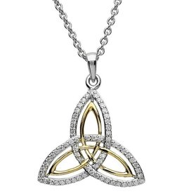 S/S GP CZ Trinity Knot Pendant