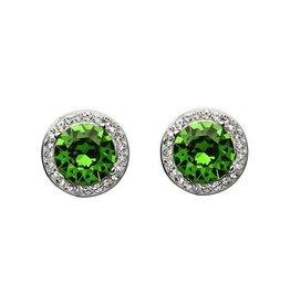 S/S Green & White Swarovski Halo Earrings