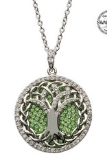S/S Peridot Swarovski Tree of Life Necklace