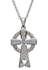 S/S Swarovski Celtic Cross Necklace