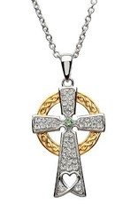 S/S GP Peridot Swarovski Celtic Cross Necklace