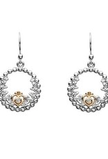 S/S Trinity Princess CZ Rose Gold Drop Earrings