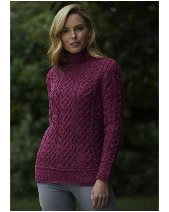 West End Knitwear Ltd. High Neck Cable Knit Sweater