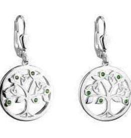 S/S Crystal Tree of Life Drop Earrings