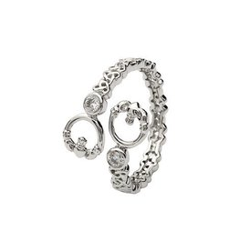 S/S Double Claddagh Crisscross Ring