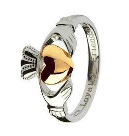 S/S 10K Gold Heart Claddagh Ring