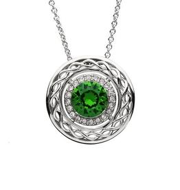 8a29ca120 S/S Green & White Swarovski Celtic Knot Necklace