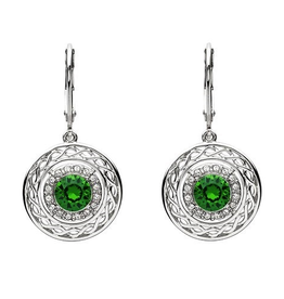 S/S Green and White SW Celtic Knot Earrings