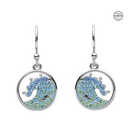 S/S Blue SW Crystal Wave Earrings