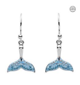 S/S Aqua SW Crystal Whale Tail Drop Earrings