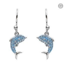 S/S Aqua SW Crystal Dolphin Drop Earrings