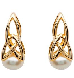 10K Gold Trinity Pearl Earrings