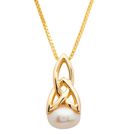 10K Gold Celtic Trinity Pearl Necklace