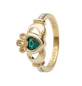 14K Yellow Gold Diamond Birthstone Claddagh Ring