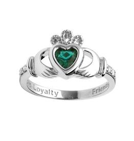 14K White Gold Diamond Birthstone Claddagh Ring