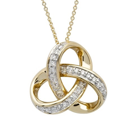 14K Gold Diamond Set Trinity Knot Necklace