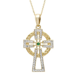 14K Gold Emerald/Diamond Set Celtic Cross Necklace