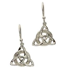 S/S Diamond Set Trinity Knot Earrings
