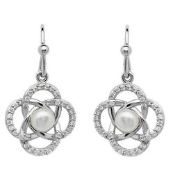 S/S CZ Pearl Set Celtic Knot Earrings