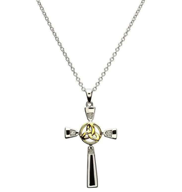 S/S GP Trinity Knot Celtic Cross Necklace