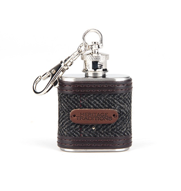 Eurostick Tweed Hipflask 1oz, Grey Herringbone