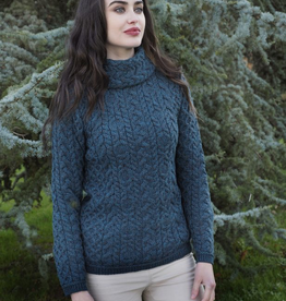 West End Knitwear Ltd. Cable Knit Cowl Neck Sweater