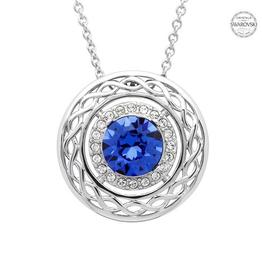 S/S Sapphire & White SW Celtic Knot Necklace