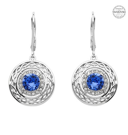 S/S Sapphire and White SW Celtic Knot Earrings